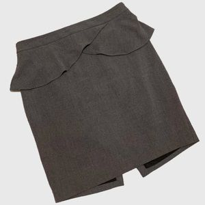 Express Grey Ruffle Pencil Skirt sz 10